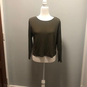 Eileen Fisher olive green silk long sleeve size L